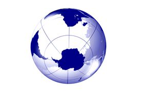 A view of the globe from the direction of Antarctica shows much of the Southern Hemisphere