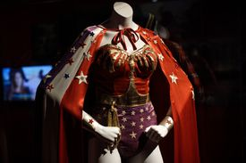 Wonder woman costume on mannequin at DC Comics Exhibition.