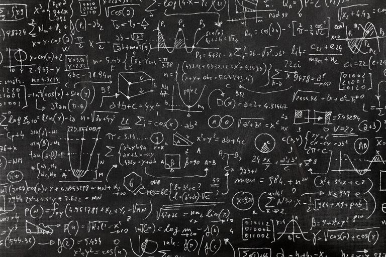 Very complicated math formula on blackboard