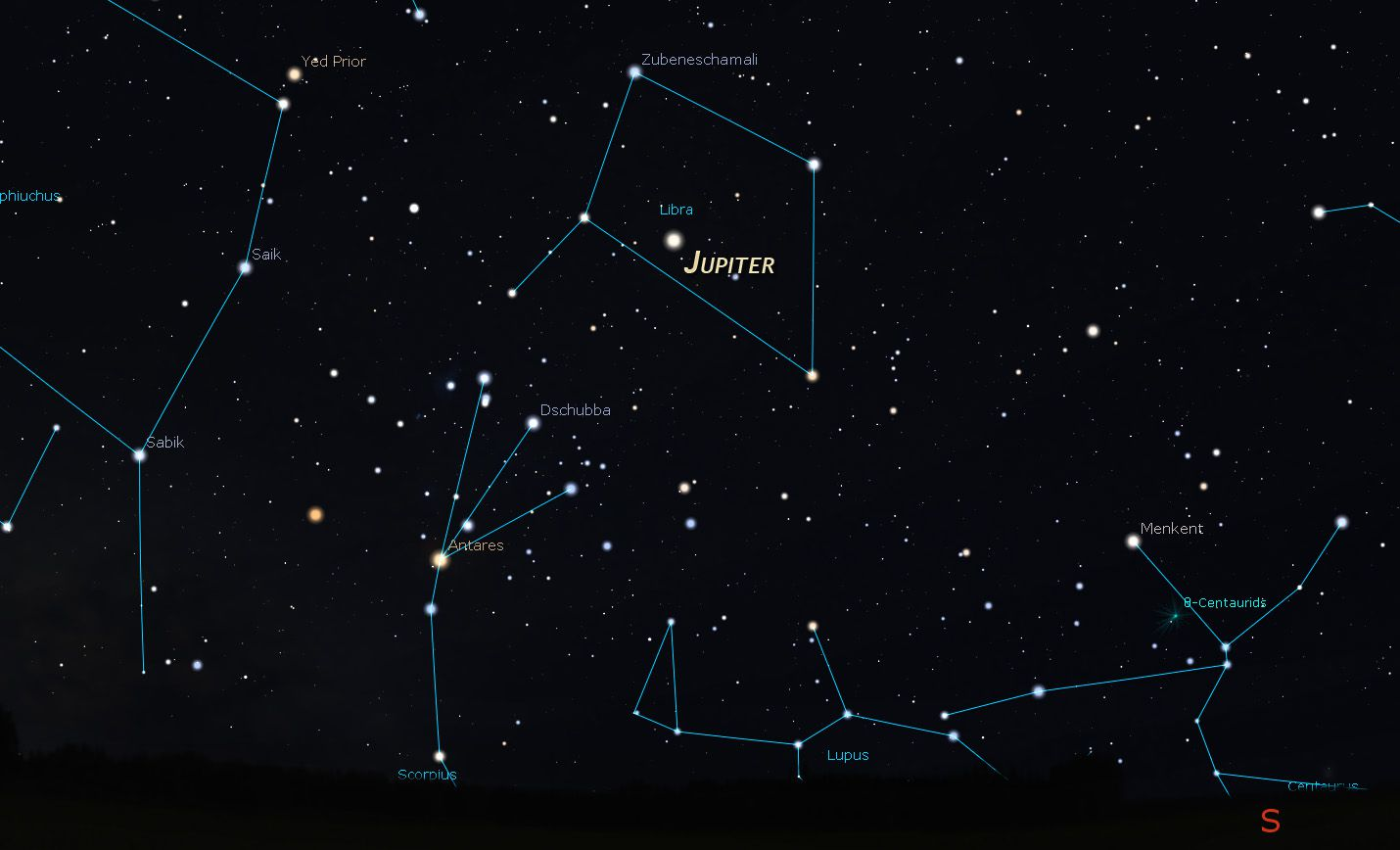Jupiter on a star chart