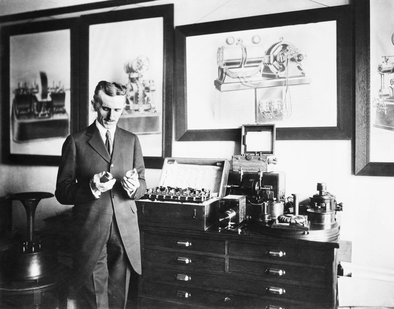 Nikola Tesla In His Laboratory