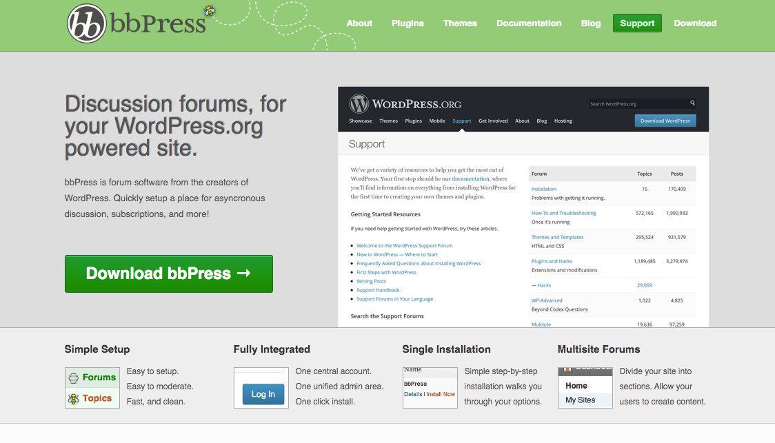 Screenshot of bbPress free online forum tool