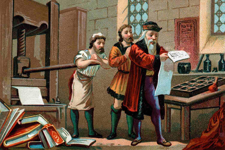 Color drawing of Johannes Gutenberg.