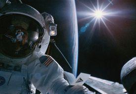Space Shuttle astronaut conducting EVA, close-up