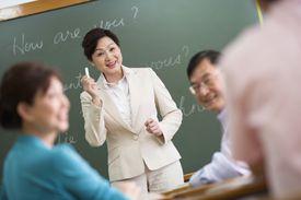 Teacher in language class