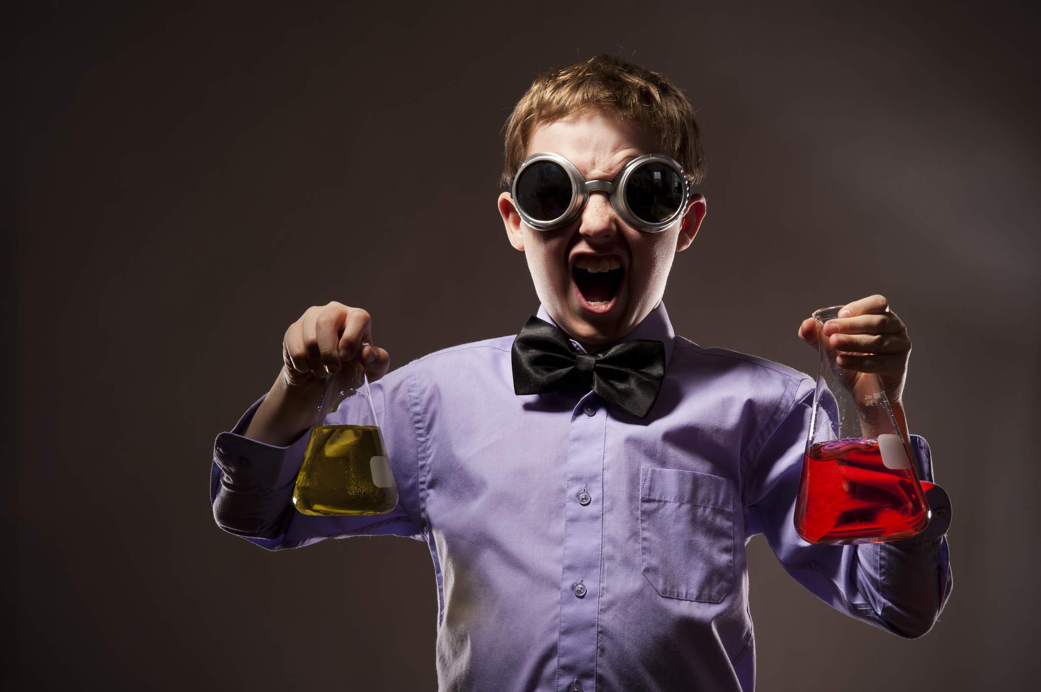 young boy as a mad scientist
