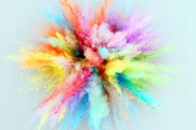 A colorful explosion of heavily pigmented powders used for makeup or artwork