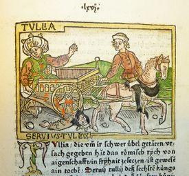 Woodcut illustration of Tullia driving over the body of her husband, Servius Tullius