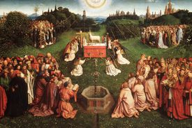 Part of the Ghent Alterpiece by Jan Van Eyck depicting angels kneeling before a lamb.