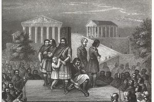 Engraved illustration of enslaved people standing on a platform in Ancient Rome from Iconographic Encyclopedia of Science, Literature and Art, Published in 1851.