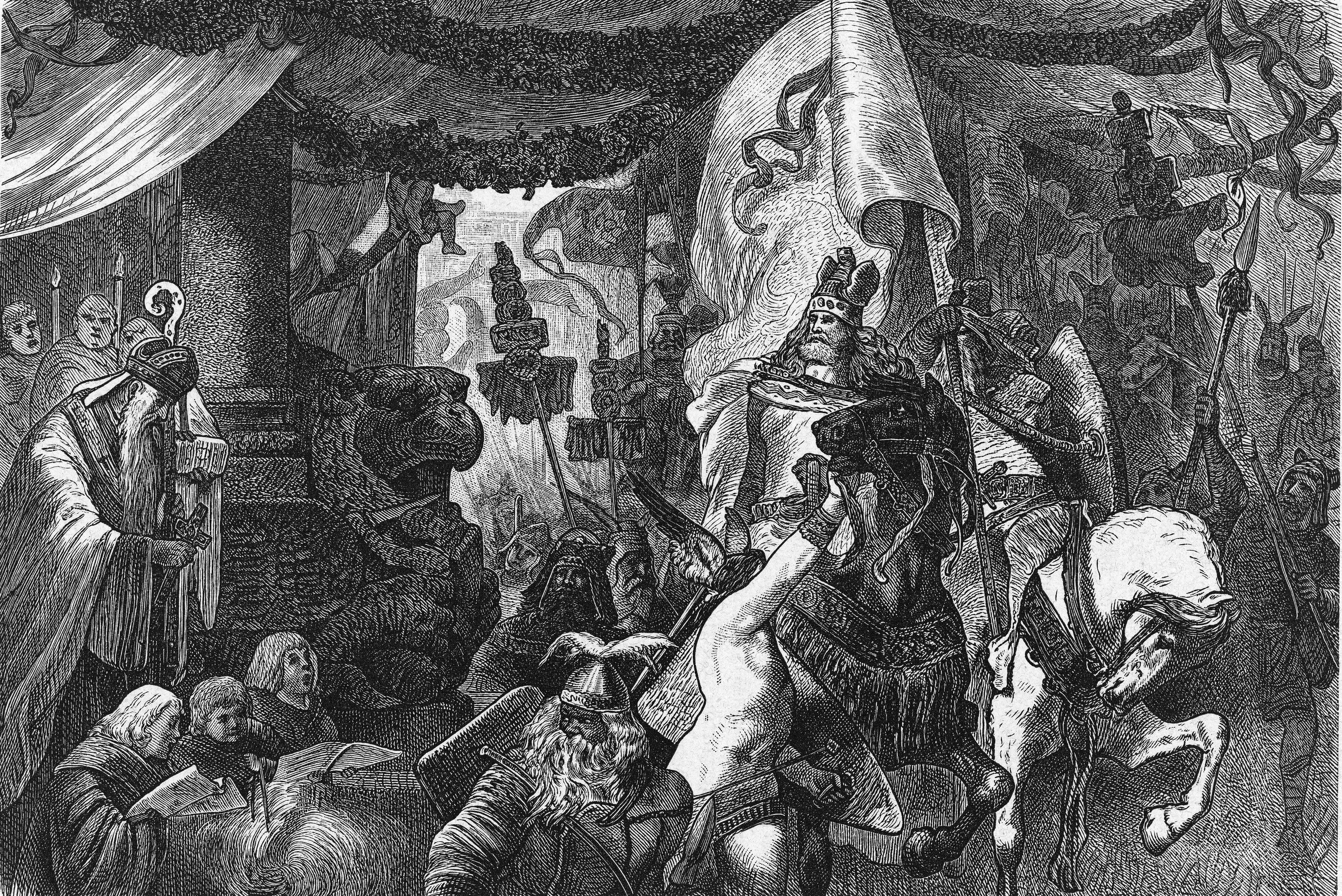 Theodoric (454 - 526), king of the Ostragoths (center, under flag), returns to Rome after succesfully defeating the Germanic armies under Odoacer where his is greeted by Pope Symmachus (right, with bowed head), 500.