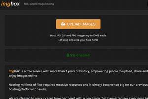 imgbox image hosting website home page