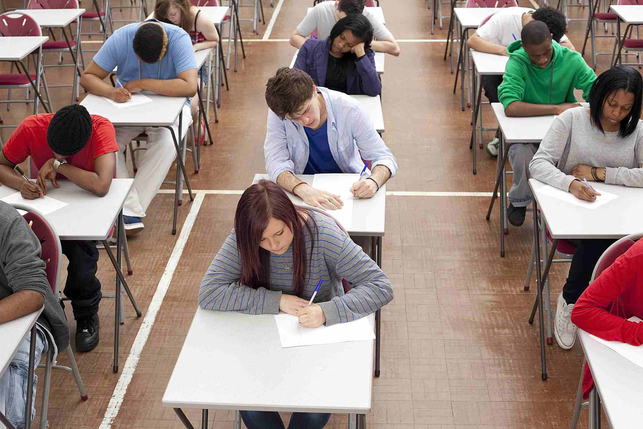 College students taking tests