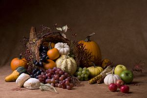 Corucopia filled with pumpkins, gourds, corn, and grapes
