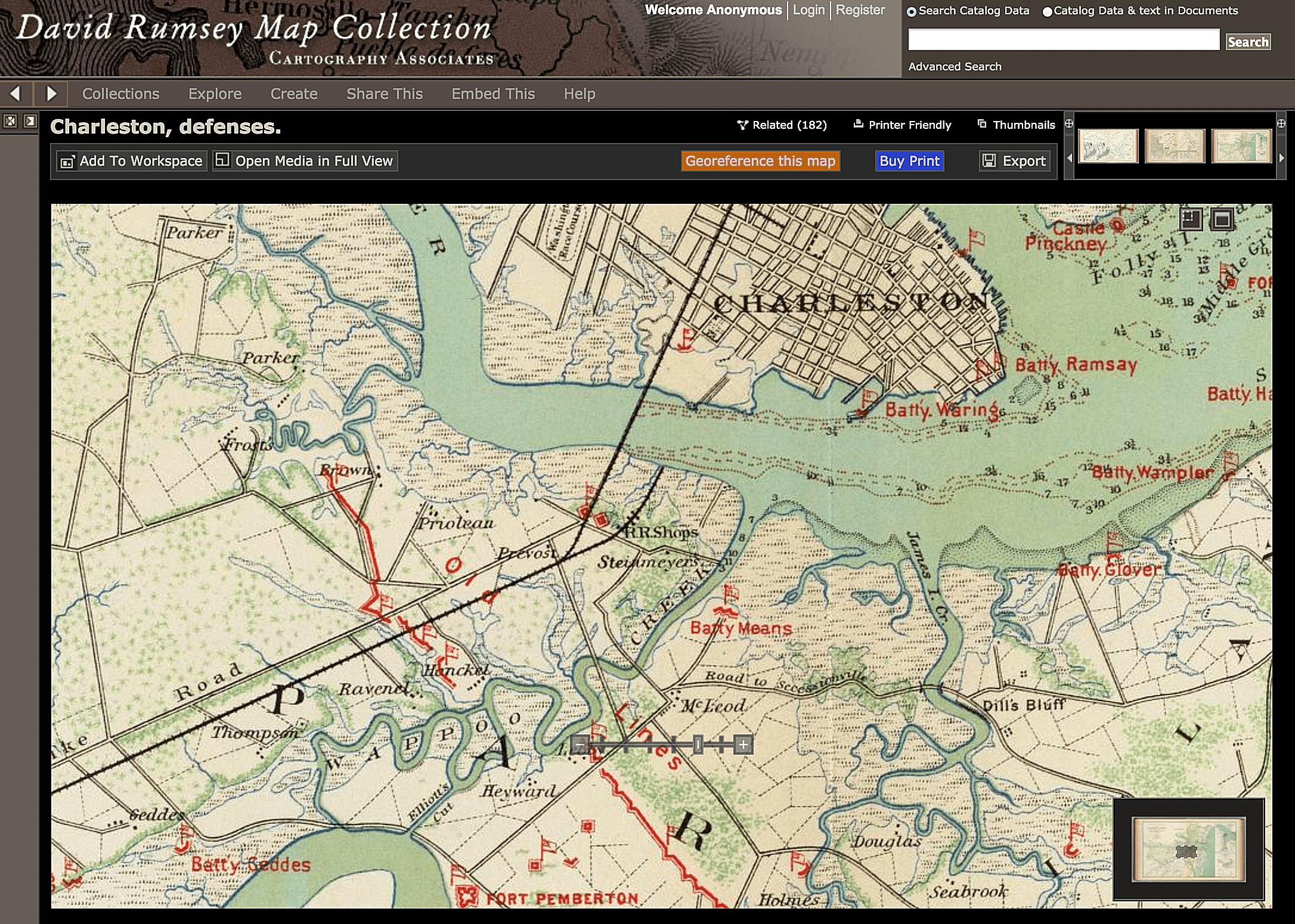 Civil war defenses at Charleston harbor in South Carolina. David Rumsey Map Collection.
