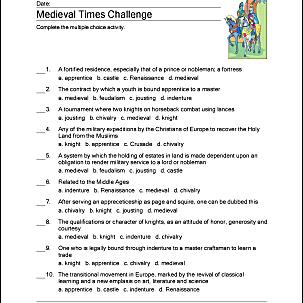 medieval times printable worksheet