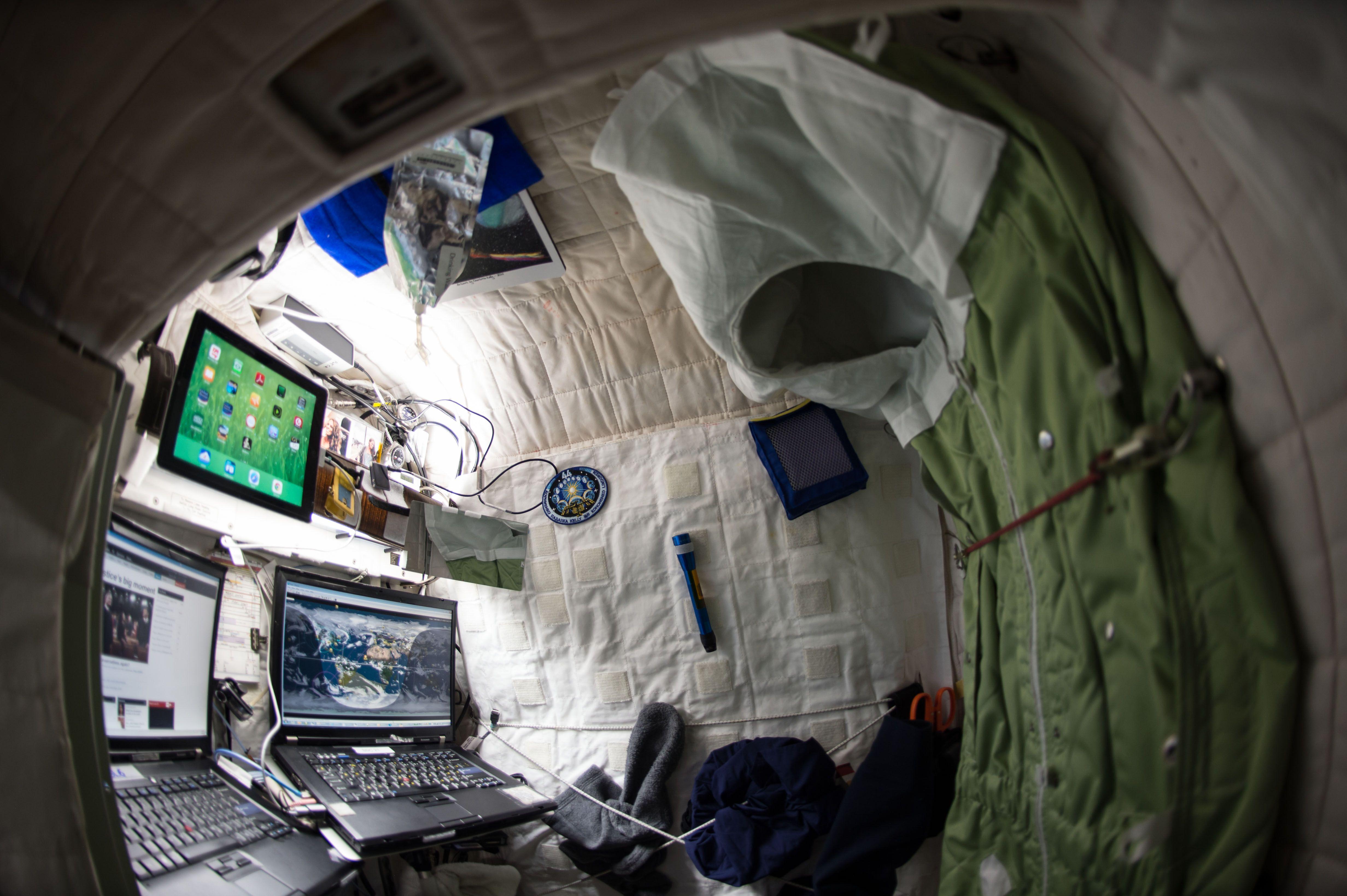 Scott Kelly personal quarters on ISS.