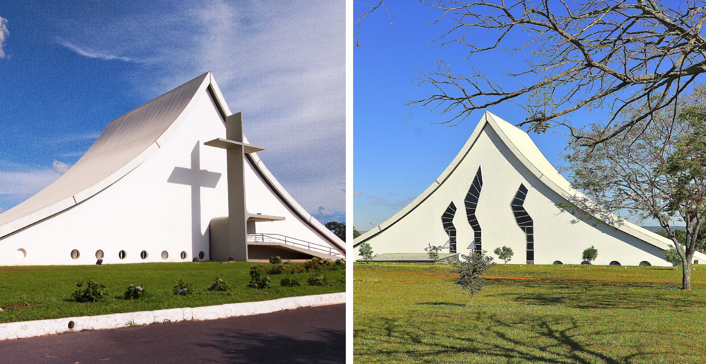 Front and back photos of the Queen of Peace Military Cathedral, Brasilia, Brazil