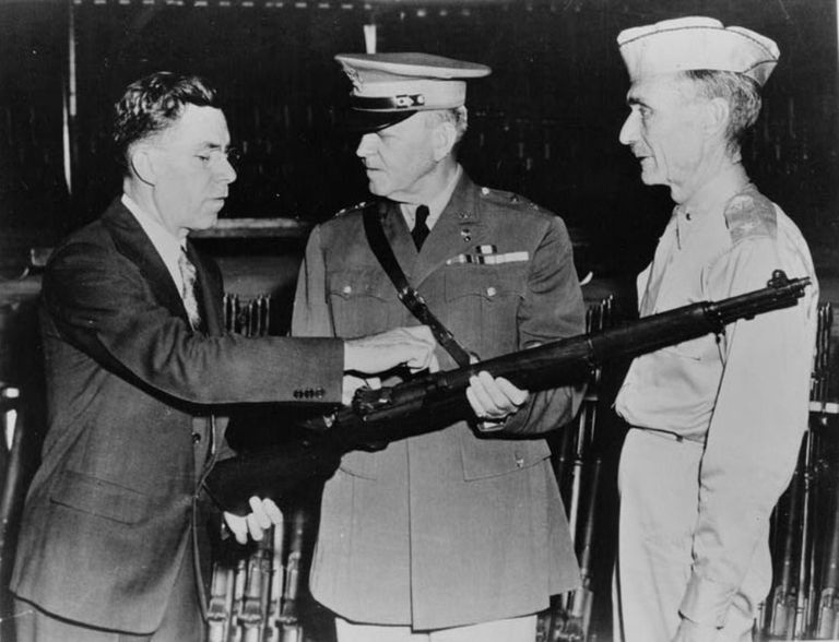 showing M1 Garand rifle