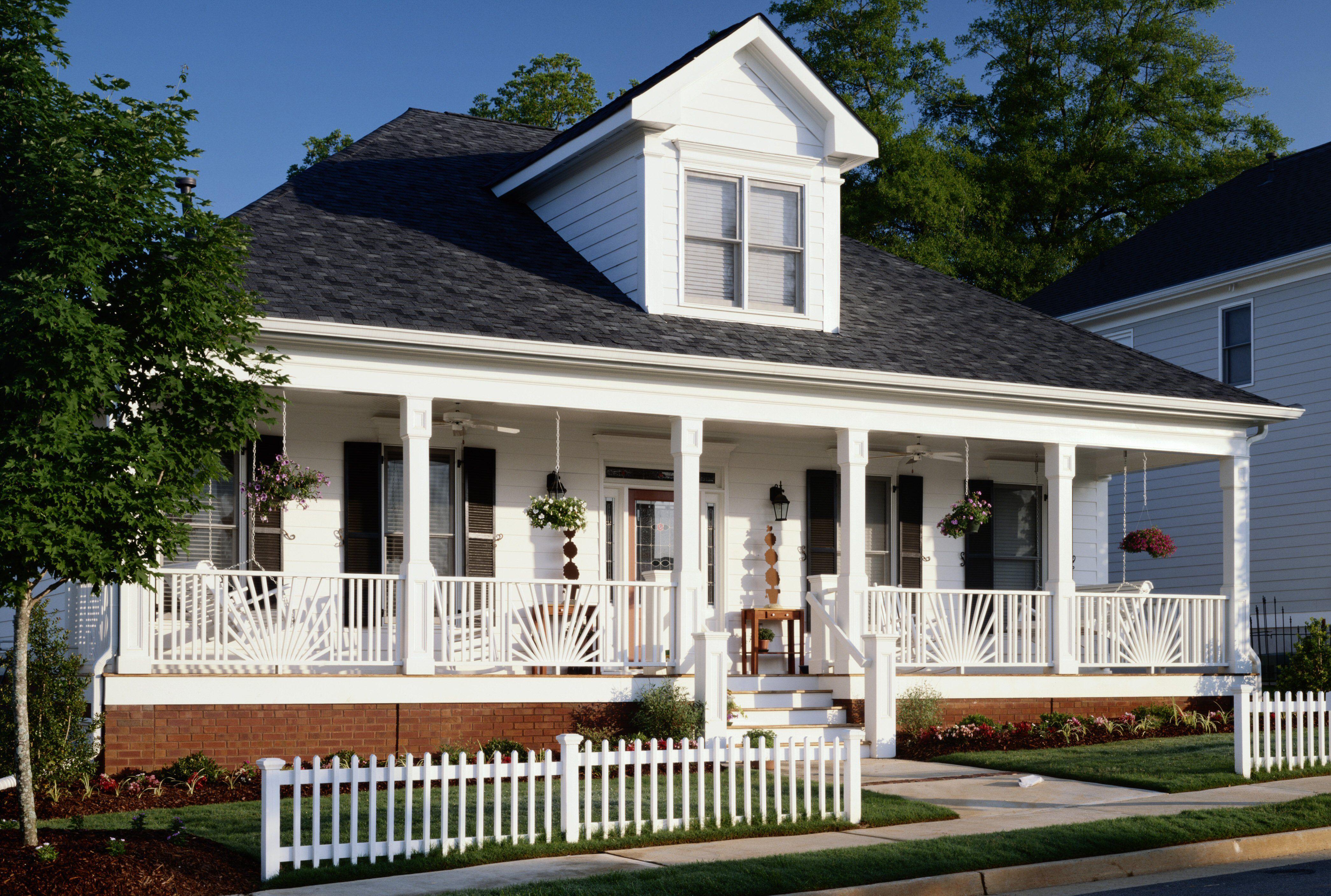 One story house near street full width front porch gable dormer
