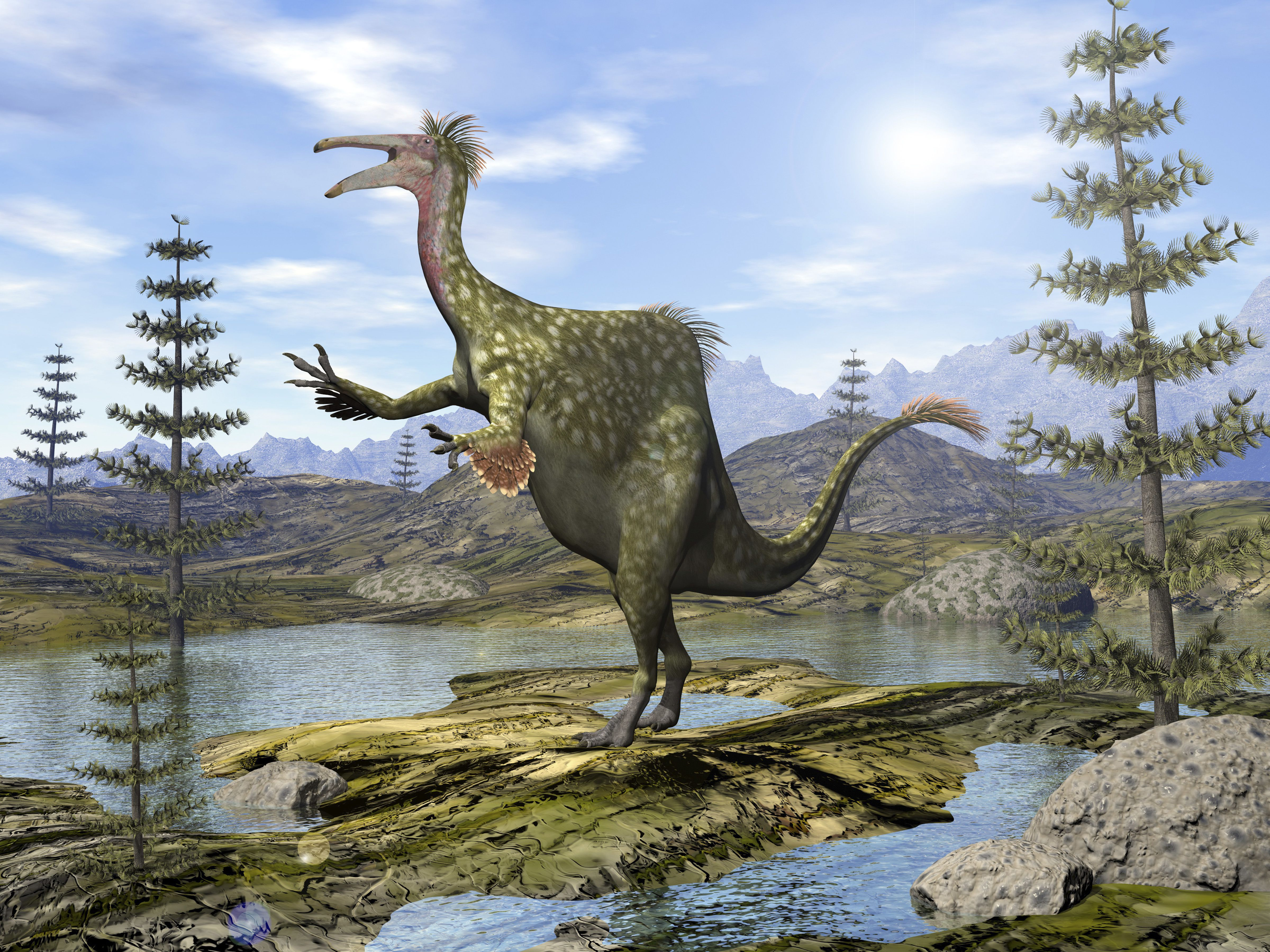 Deinocheirus dinosaur in an enviornment of ponds and calamites.