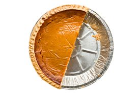 overhead view of half a pie