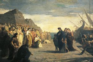 Agrippina arriving at port of Brindisi with Germano's ashes, by Cesare Caroselli