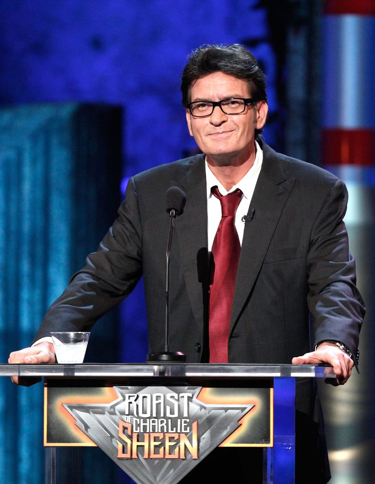 Charlie Sheen on stage at the Comedy Central Roast of Charlie Sheen