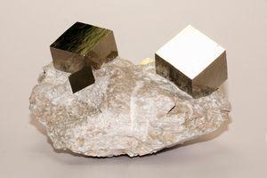 Iron pyrite cubic crystals in matrix, collected at Mina Victoria, Navajun La Rioja, Spain