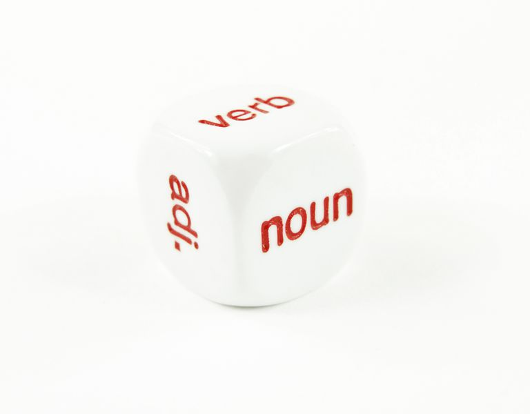 A die with different parts of grammar