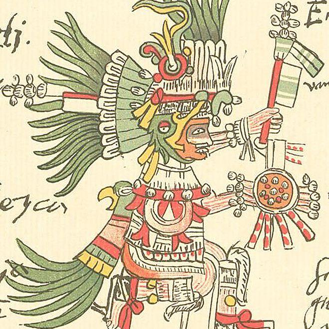 Aztec God Huitzilopochtli from the Codex Telleriano-Remensis