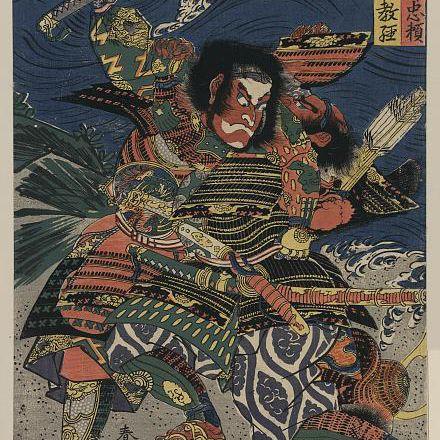 Samurai Ichijo Jiro Tadanori and Notonokami Noritsune fighting, c. 1818-1820.