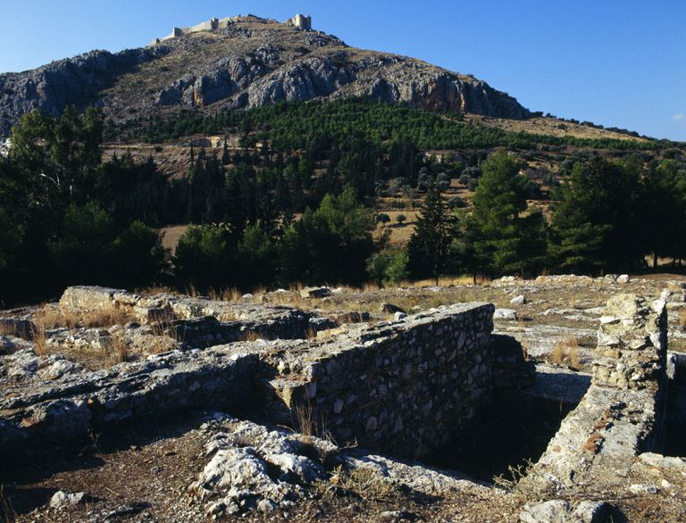 The Sanctuary of Apollo Lyceios, Aspis Acropolis, with the castle of Larissa in the background, Argos, Peloponnese, Greece. Greek civilization