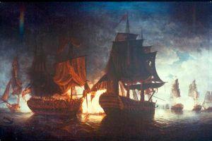 Bonhomme Richard battles HMS Serapis