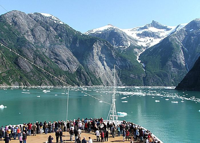 Cruising Tracy Arm Fjord toward Sawyer Glacier in the Tongass National Forest.