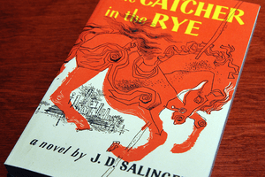 Catcher in the Rye book cover on a table