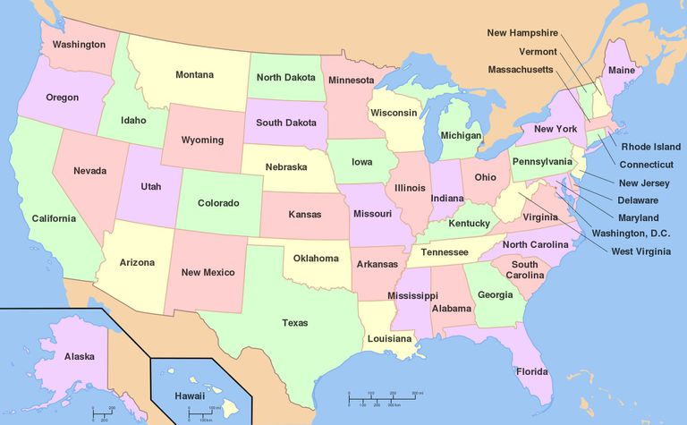 Multicolored map of the United States.