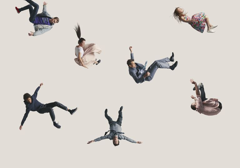 A group of people falling in the air