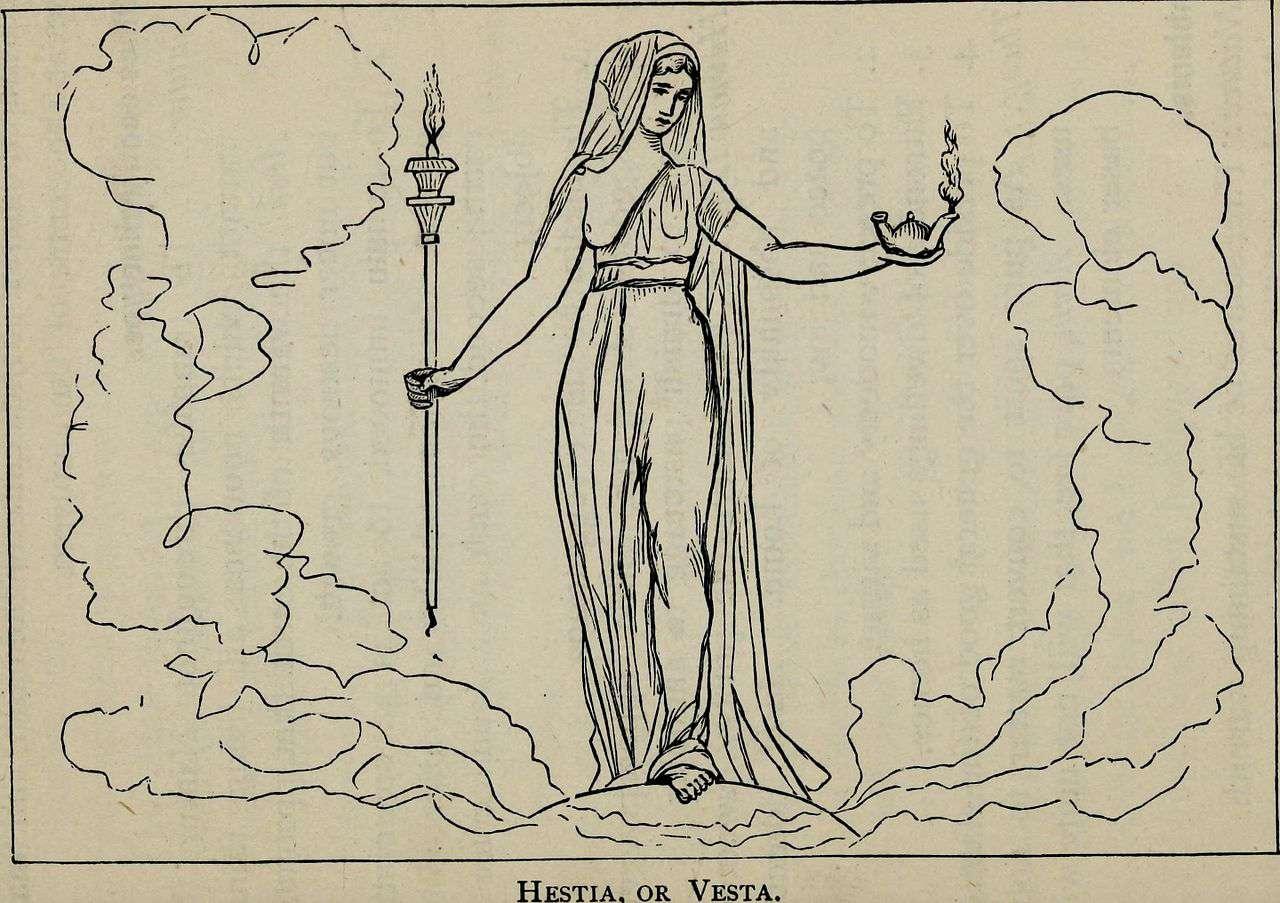Drawing of Hestia from Greek mythology systematized