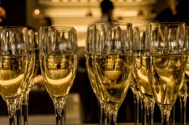 Multiple glasses of champagne evenly poured.