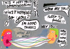 A mixed media illustration of common conversational phrases