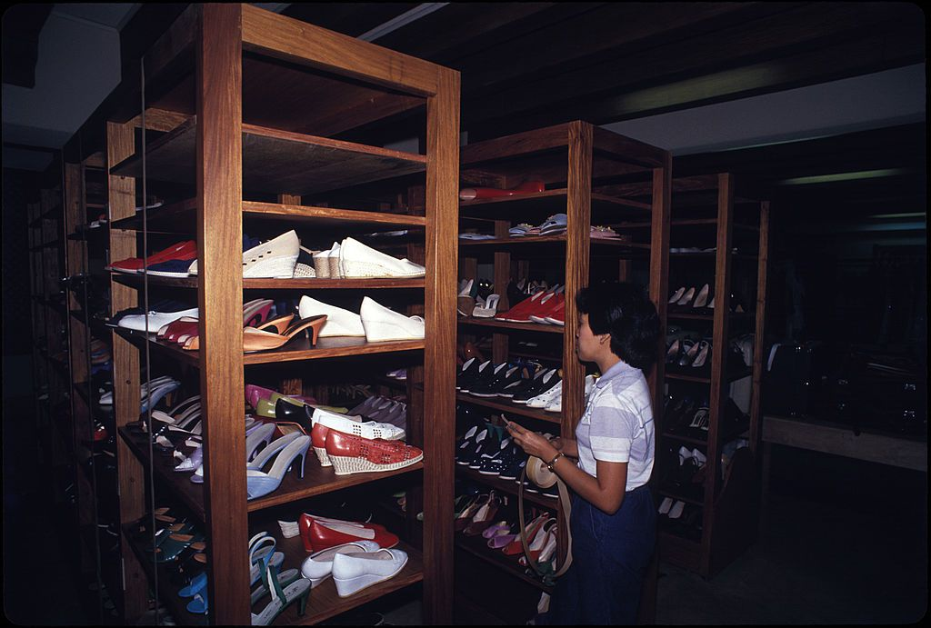 Imelda Marcos' Shoes: An inventory is made of shoes belonging to former First lady of the Philippines, Imelda Marcos, in a cellar under her bedroom at Malacanang Palace, Manila, 1986.