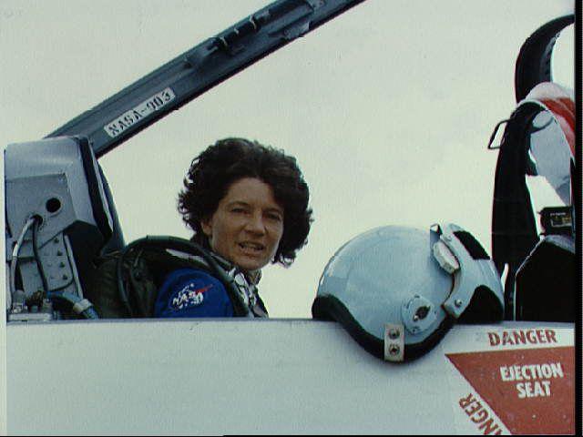 Sally Ride Departing in T-38 - Preparing to Put on Helmet