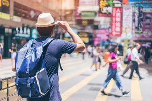 Young man traveling in Hong Kong