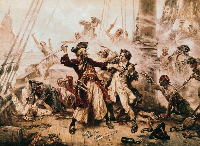 The Capture of the Pirate, Blackbeard, 1718 by Jean Leon Gerome Ferris