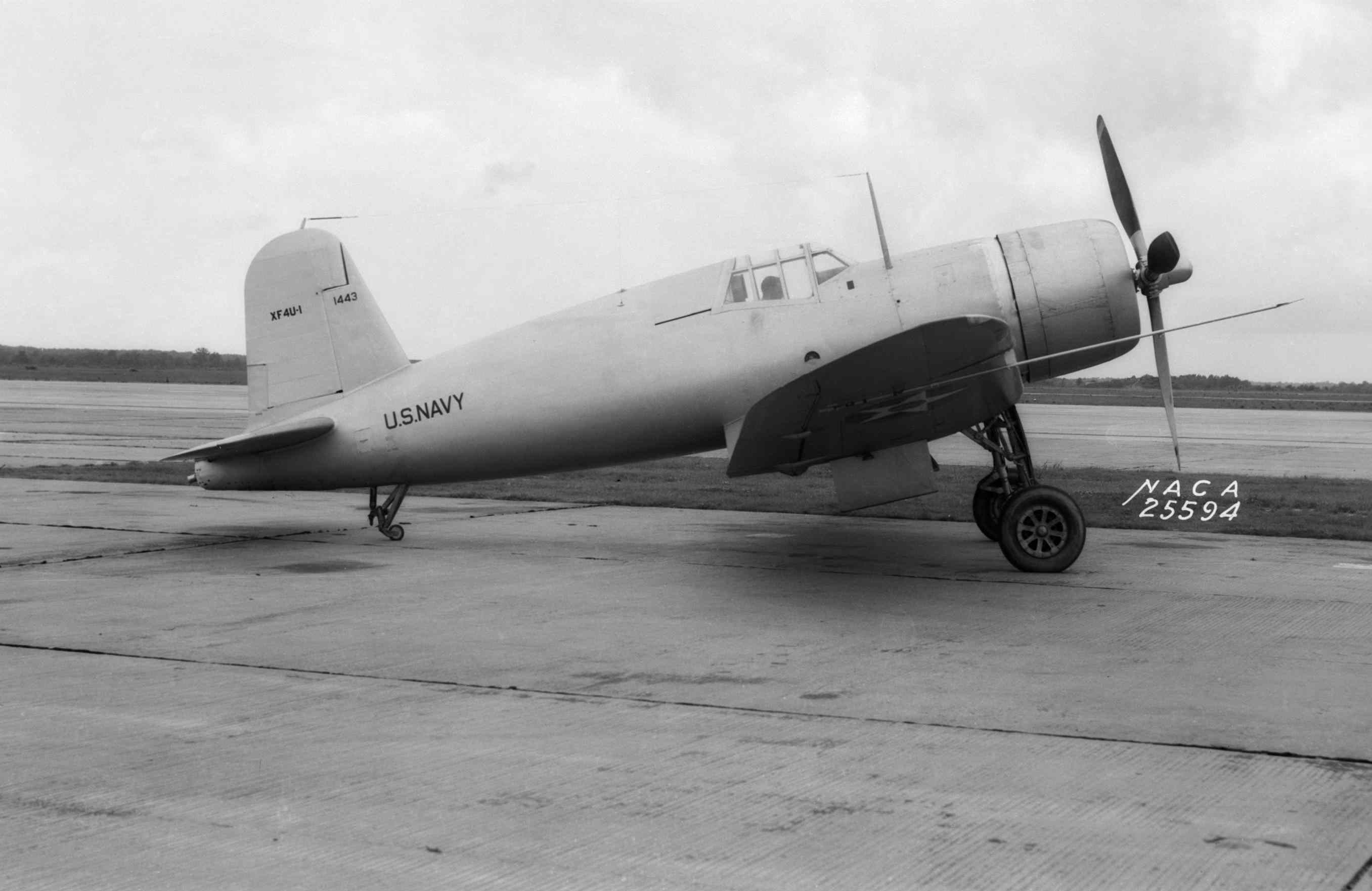 Chance Vought XF4U-1 Corsair prototype sitting on the tarmac.
