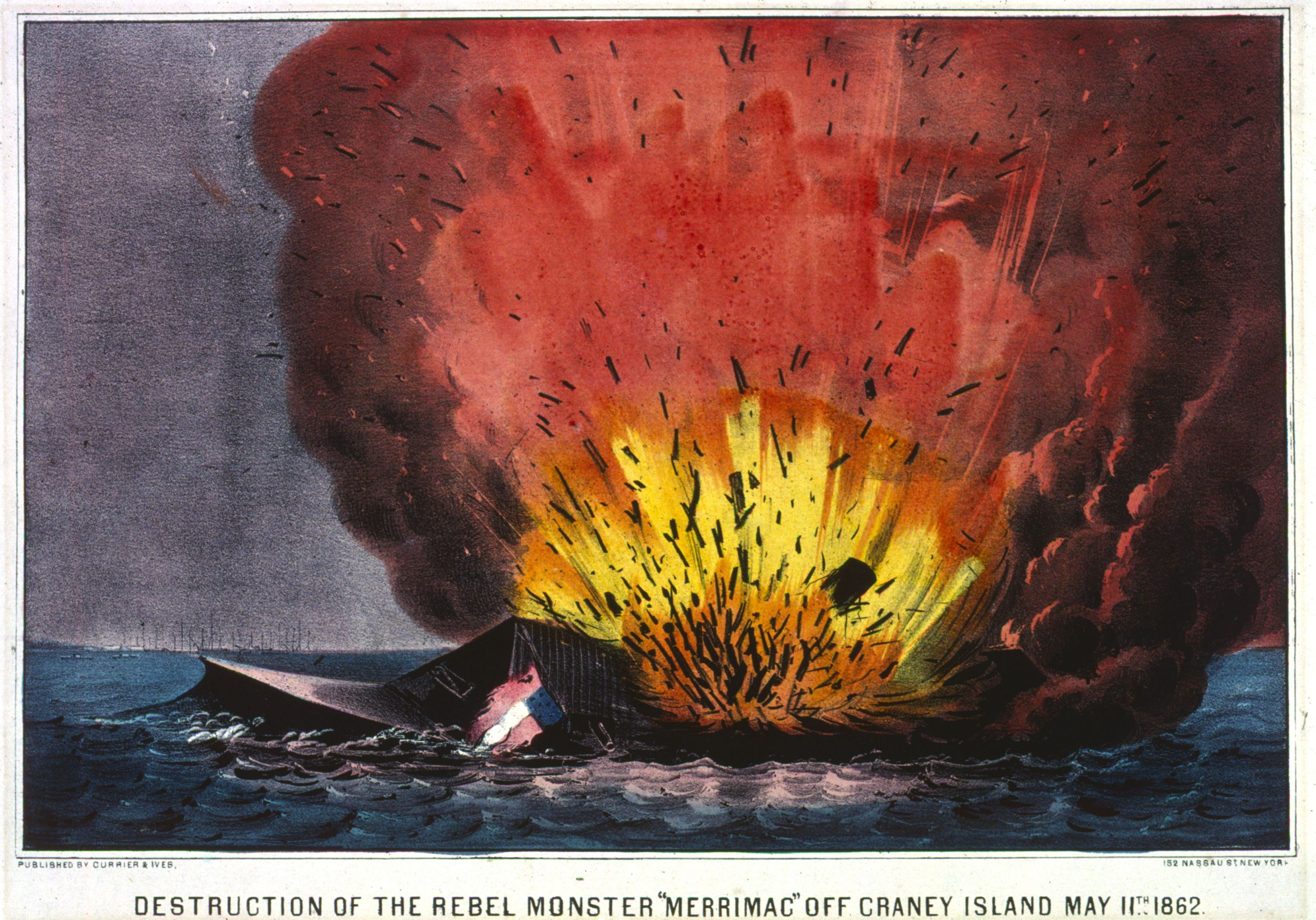 Lithograph showing the destruction of the C.S.S. Virginia.