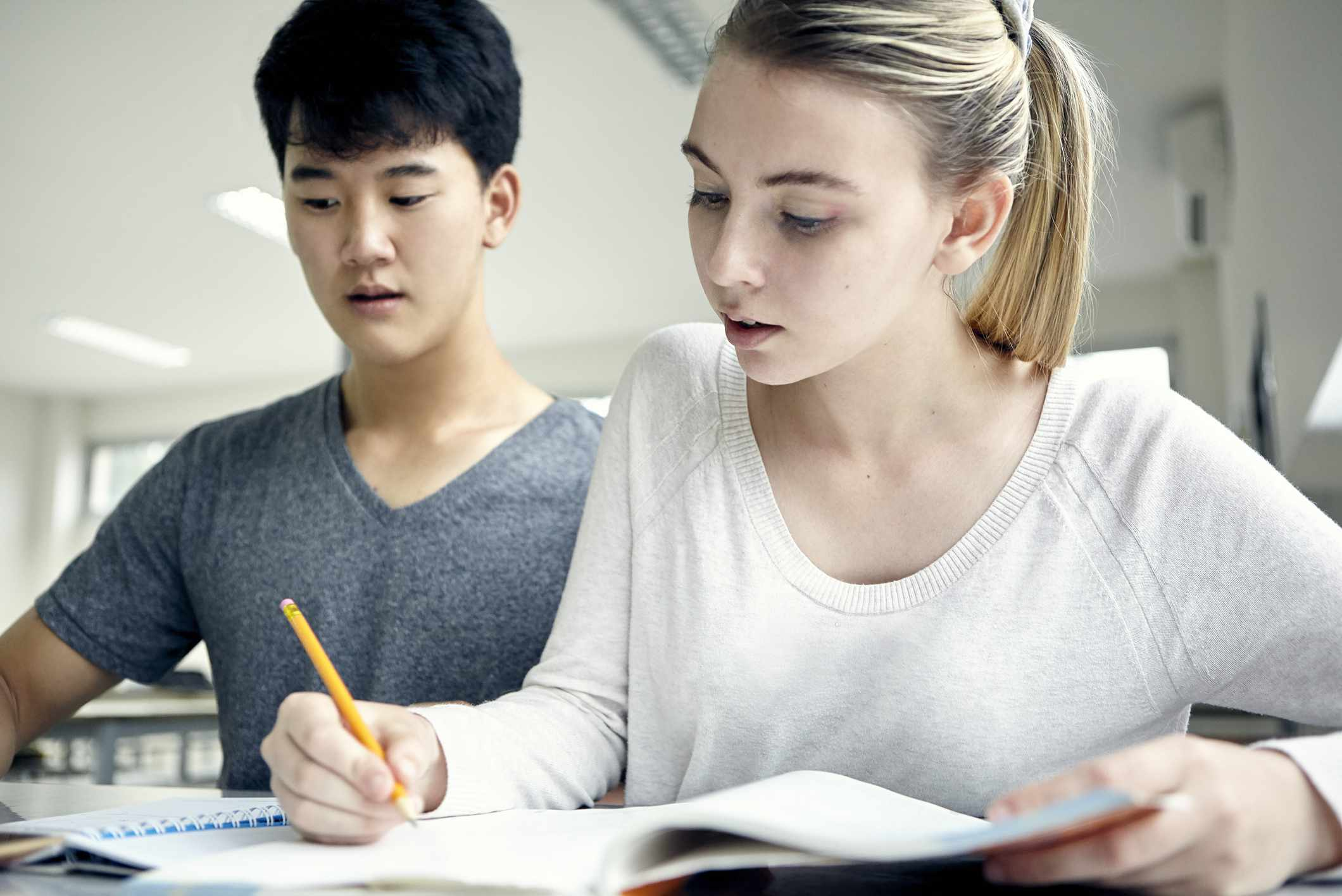 Students working on assignment at school