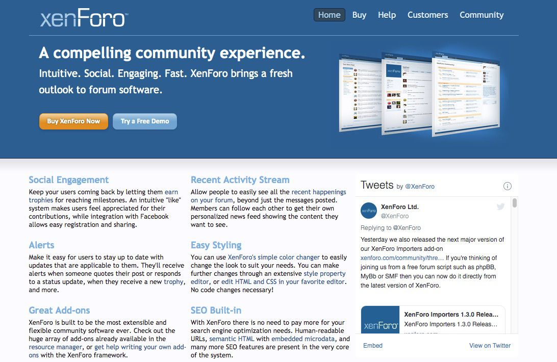 Screenshot of XenForo forum tool for blogs and websites