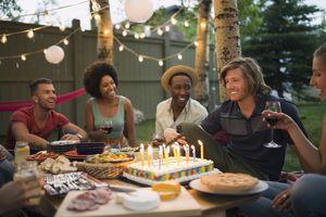 Friends enjoying backyard birthday party